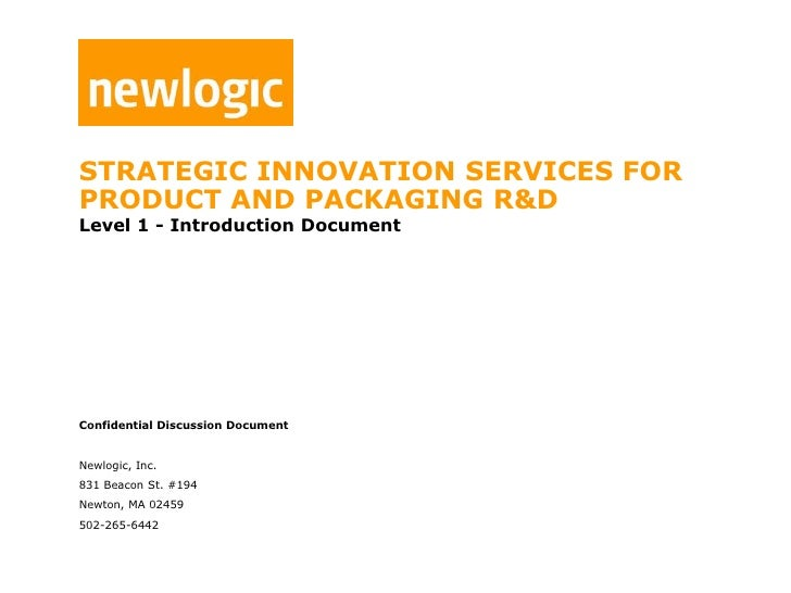 STRATEGIC INNOVATION SERVICES FOR <br />Product and PACKAGING R&D<br />Level 1 - Introduction Document<br />Confidential D...
