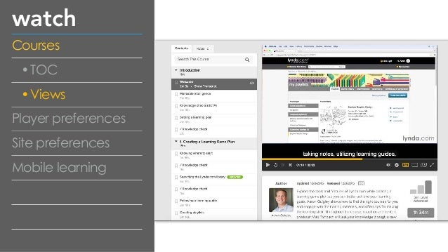 watch Courses •TOC •Views Player preferences Site preferences Mobile learning