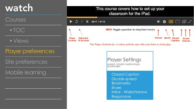 watch Courses •TOC •Views Player preferences Site preferences Mobile learning Player Settings speed, closed captioning & b...