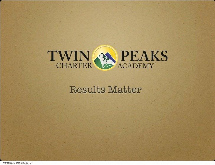 Results Matter     Thursday, March 25, 2010
