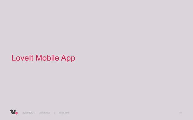 LoveIt Mobile App  12/28/2012 |   Confidential   |   loveit.com   10