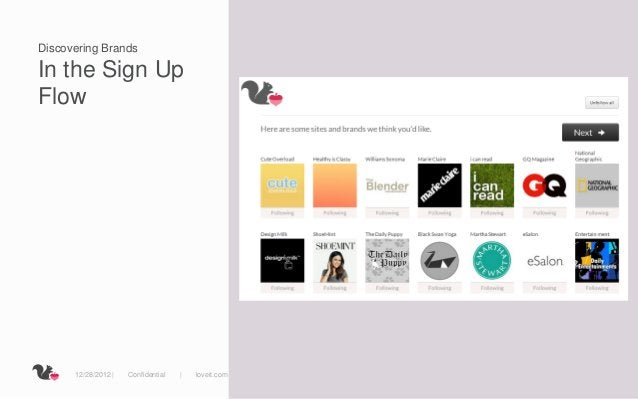 Discovering BrandsIn the Sign UpFlow      12/28/2012 |   Confidential   |   loveit.com