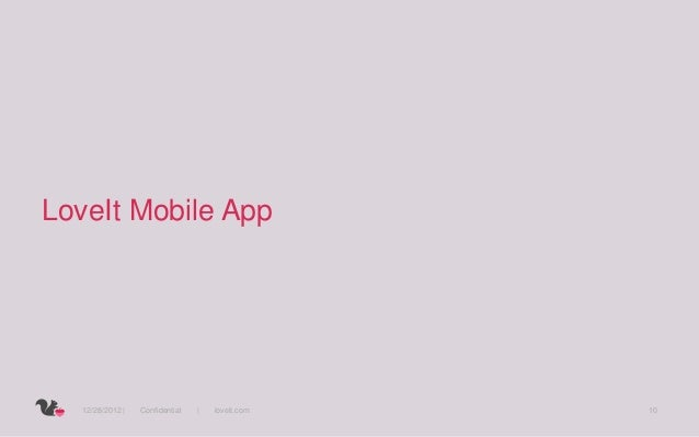 LoveIt Mobile App  12/28/2012     Confidential       loveit.com   10