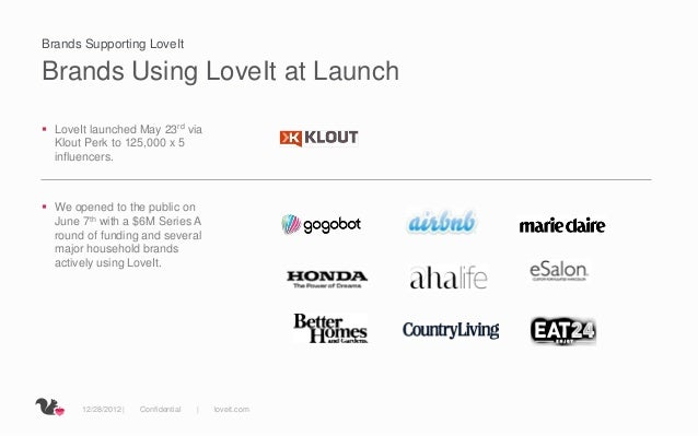 Brands Supporting LoveItBrands Using LoveIt at Launch LoveIt launched May 23rd via  Klout Perk to 125,000 x 5  influencer...
