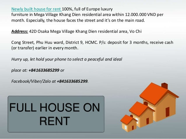 Newly built house for rent 100%, full of Europe luxury furniture in Mega Village Khang Dien residential area within 12.000...