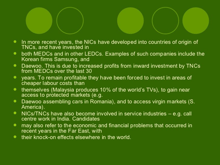 the world categorized into medcs nics and ledcs Extracts from this document introduction 'the growth of transnational corporations has had a major impact on a number of countries around the world' discuss this statement with reference to medcs, ledcs and nics a tnc is a company that operates in no less than two countries.