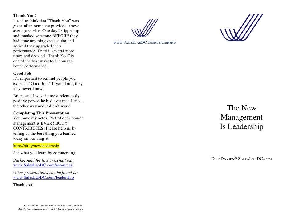 New Management is Leadership Slide 2