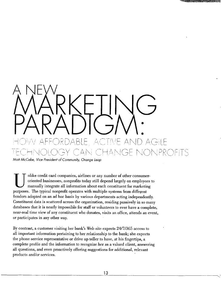 New marketing paradigm for philanthropy and donor software management