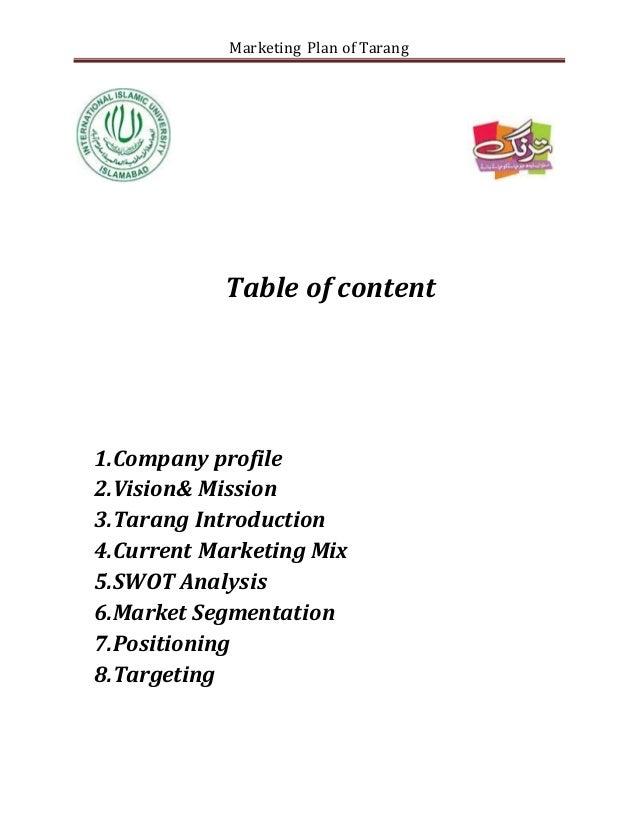 Marketing plan of tarang - Marketing plan table of contents ...