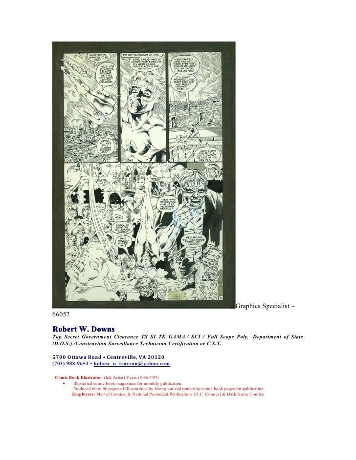 Graphics Specialist –66057Robert W. DownsTop Secret Government Clearance TS SI TK GAMA / SCI / Full Scope Poly. Department...