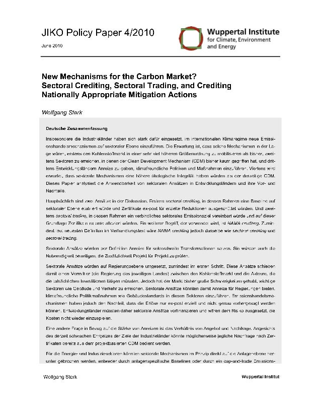 New mechanisms for the carbon market right 3