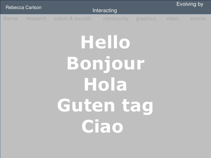 Evolving by Interacting  Rebecca Carlson Hello Bonjour Hola Guten tag Ciao  theme   research   colors & sounds   community...