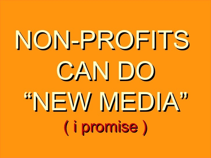 "NON-PROFITS  CAN DO "" NEW MEDIA"" ( i promise )"