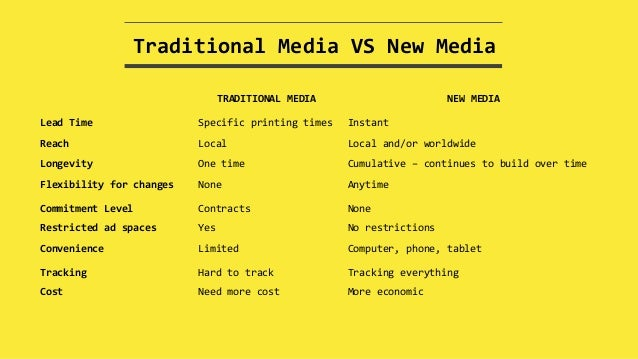 traditional media and new media