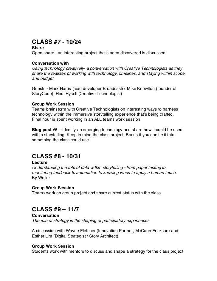 New Media Producing Syllabus Fall 2012 - Building