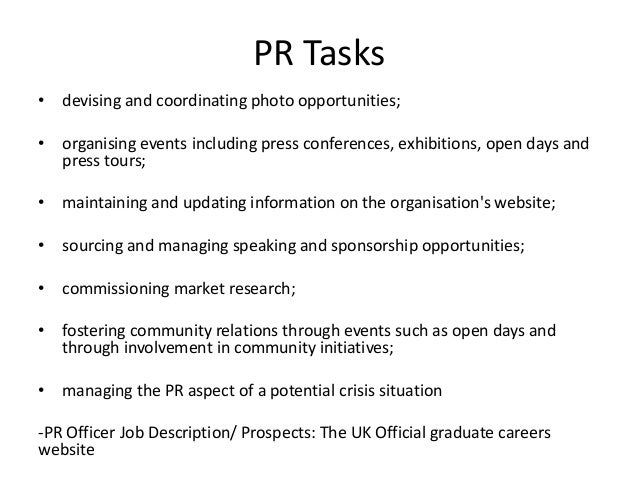 Public Relations Job Descriptions  Plan