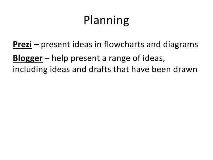 PlanningPrezi – present ideas in flowcharts and diagramsBlogger – help present a range of ideas,including ideas and drafts...