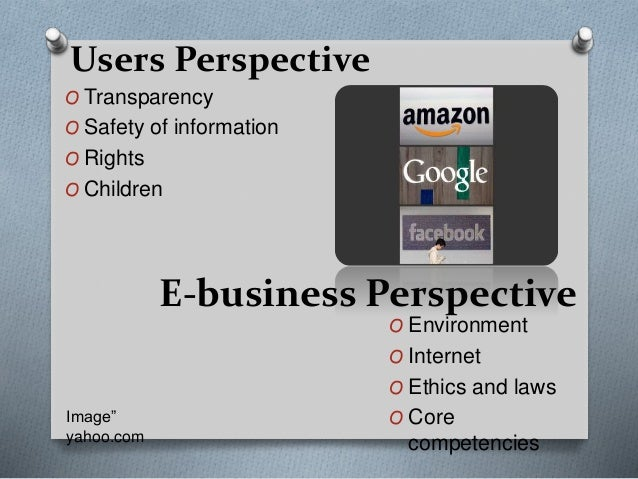O Transparency O Safety of information O Rights O Children Users Perspective E-business Perspective O Environment O Intern...