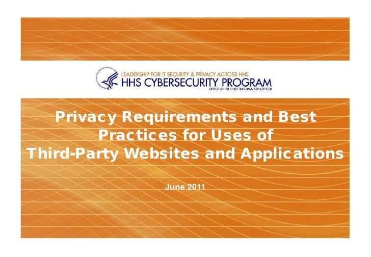 Privacy Requirements and Best        Practices for Uses ofThird-Party Websites and Applications                June 2011