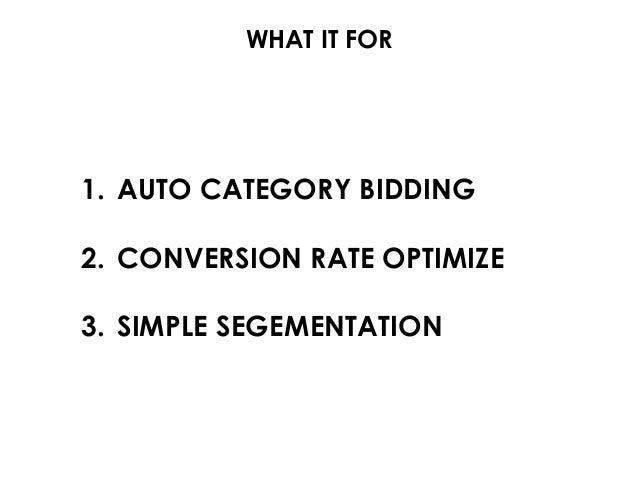 WHAT IT FOR 1. AUTO CATEGORY BIDDING 2. CONVERSION RATE OPTIMIZE 3. SIMPLE SEGEMENTATION
