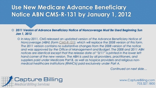New Medicare Advance Beneficiary Notice ABN CMS