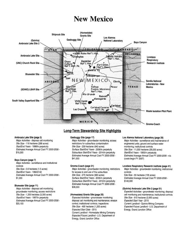 New Mexico Shiprock Site (Quivira) Ambrosia Lake Site 2  (Homestake) Grants Site Gasbuggy Site  Los Alamos National Labora...