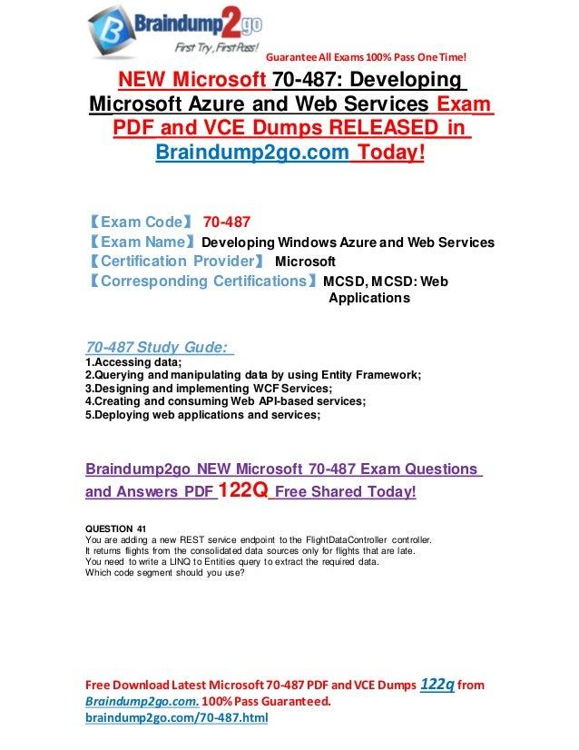 New Microsoft 70 487 Exam Questions Pdf 122qas Share