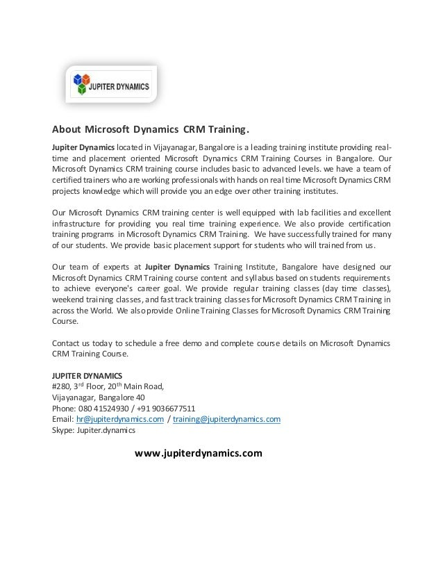 Dear All Online Ms Dynamics Crm Course Training Jupiter Dynamics