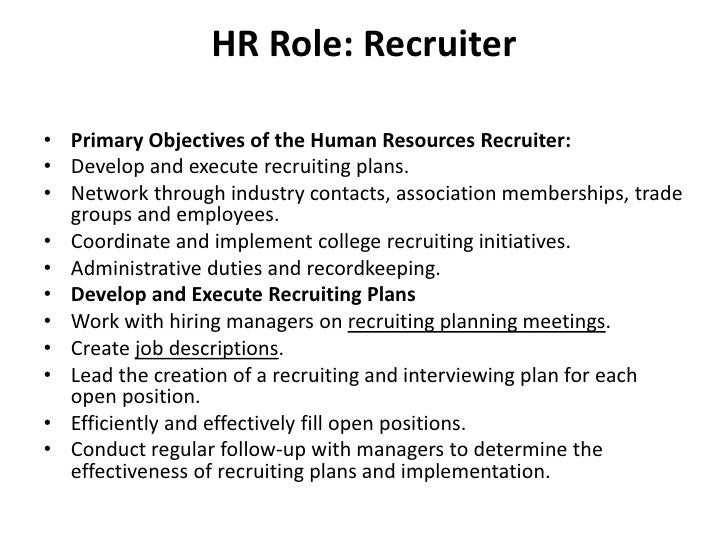 human resource recruiter job description