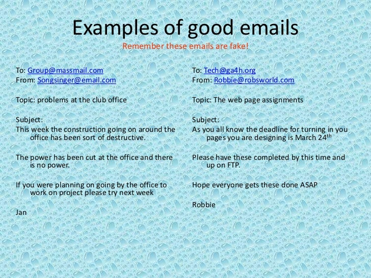 email etiquette examples