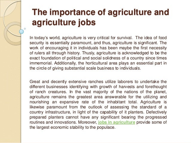 importance of agriculture in economy essay Agriculture represents a very important development in human history, considering the benefits agriculture and its products have brought us since then, it is arguable that we would have developed to this stage without our involvement in and development of agriculture.