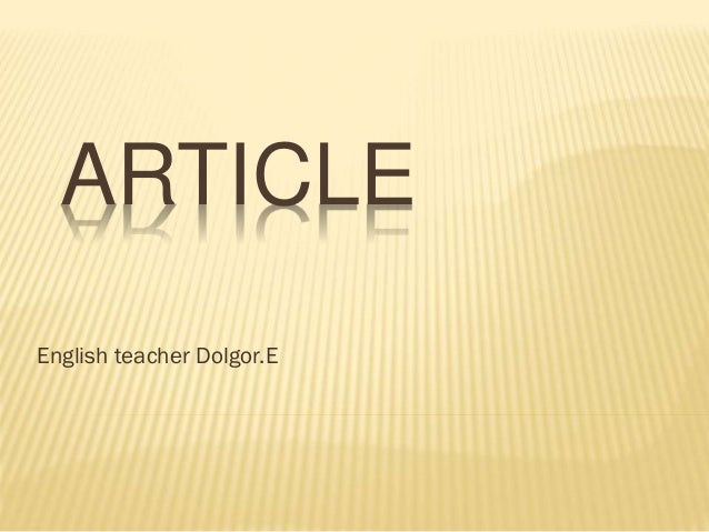 ARTICLE English teacher Dolgor.E