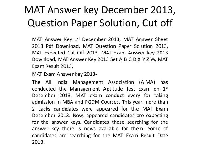 Mat Question Papers With Solutions Pdf