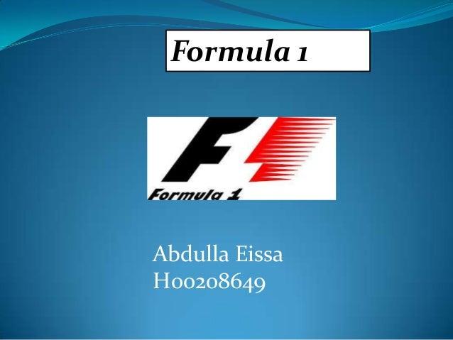 Formula 1  Abdulla Eissa H00208649