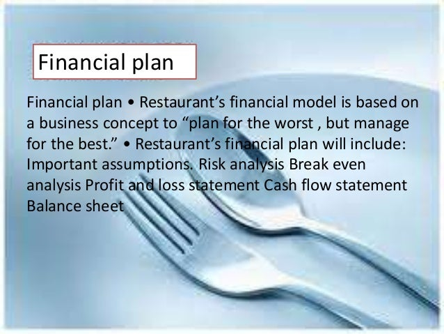 Business plan for the restaurant financial plan