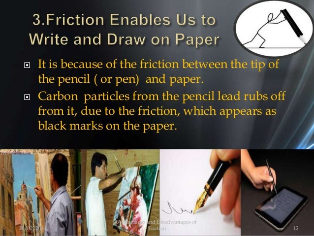  It is because of the friction between the tip of the pencil ( or pen) and paper.  Carbon particles from the pencil lead...