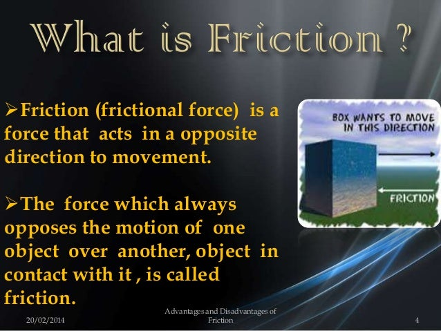Friction (frictional force) is a force that acts in a opposite direction to movement. The force which always opposes the...