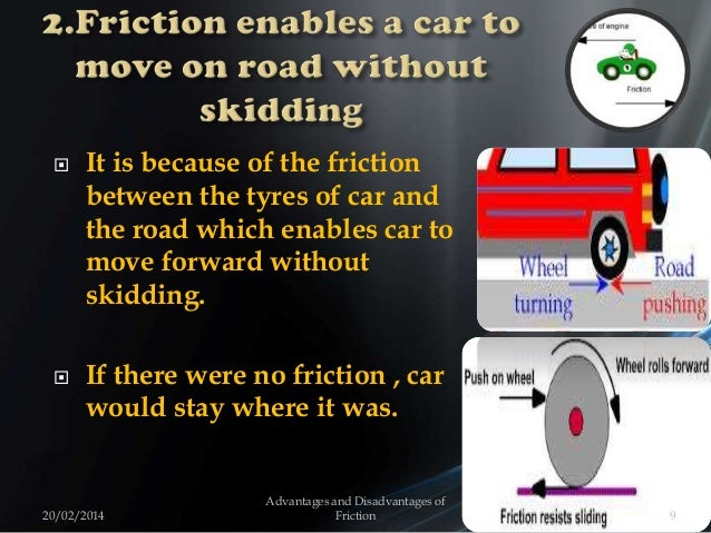 It is because of the friction between the tyres of car and the road which enables car to move forward without skidding. ...