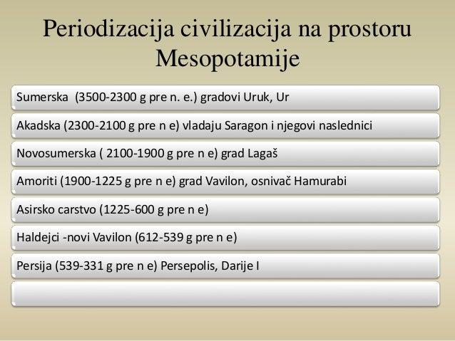 Periodizacija civilizacija na prostoru  Mesopotamije  Sumerska (3500-2300 g pre n. e.) gradovi Uruk, Ur  Akadska (2300-210...