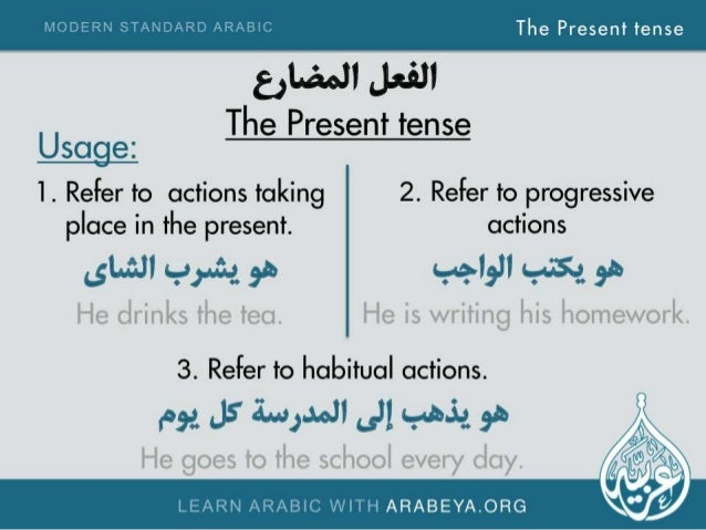 The Present tense     g, L£wJl Jafll  The Present tense  Usage:  1. Refer to actions taking 2. Refer to progressive place i...