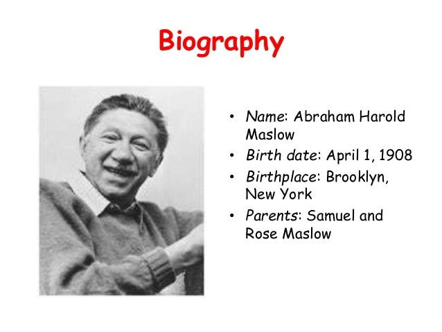 a biography of abraham harold maslow