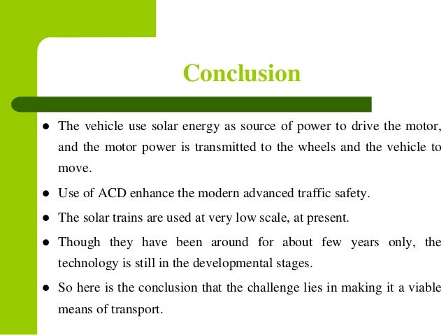 Solar car project research paper