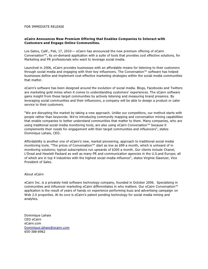 FOR IMMEDIATE RELEASE<br /><br /><br />eCairn Announces New Premium Offering that Enables Companies to Interact with Cus...