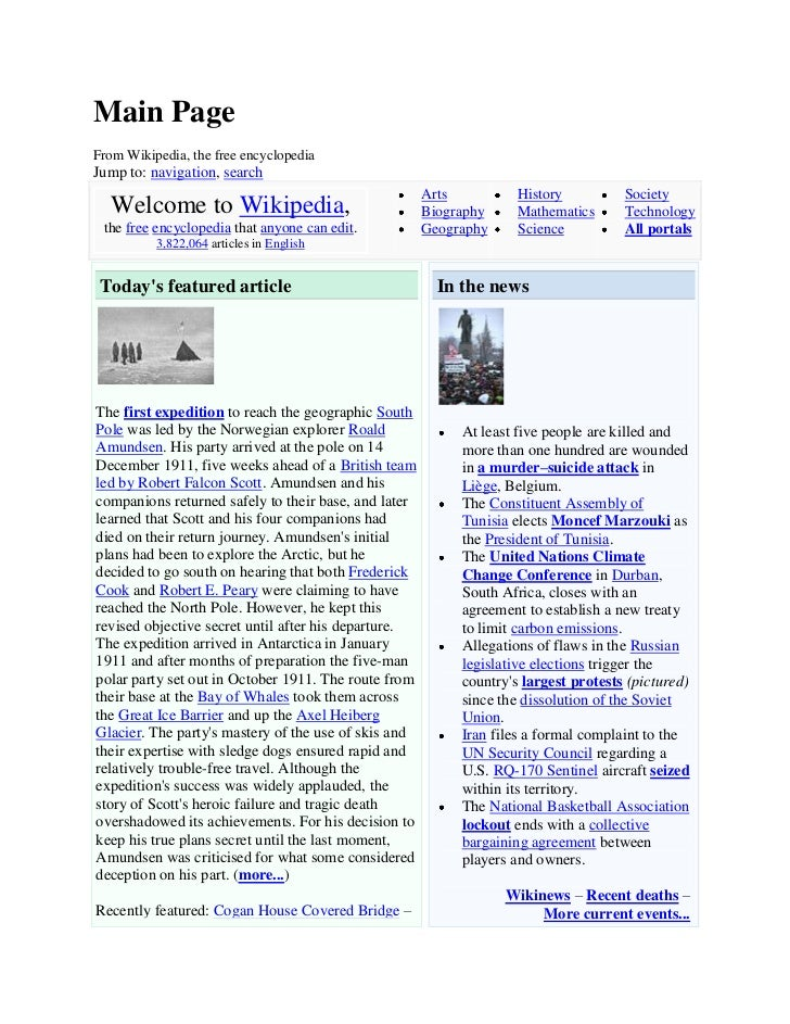 Main PageFrom Wikipedia, the free encyclopediaJump to: navigation, search                                                 ...