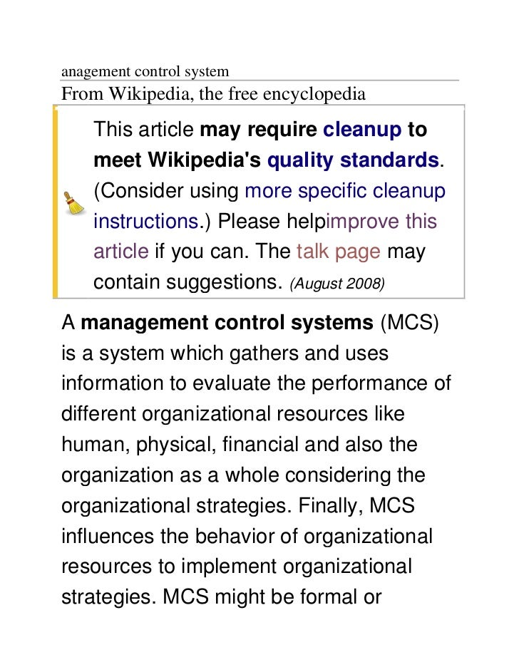 anagement control systemFrom Wikipedia, the free encyclopedia    This article may require cleanup to    meet Wikipedias qu...