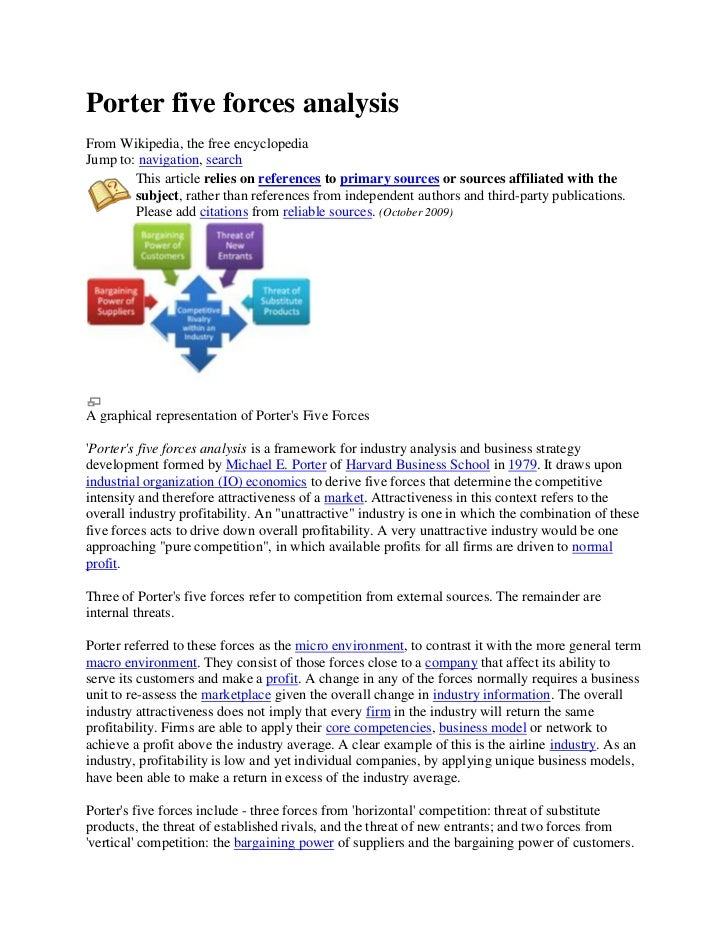 Porter five forces analysisFrom Wikipedia, the free encyclopediaJump to: navigation, search        This article relies on ...