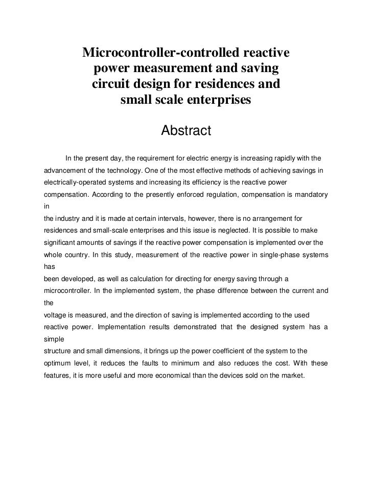 Microcontroller-controlled reactive               power measurement and saving               circuit design for residences...