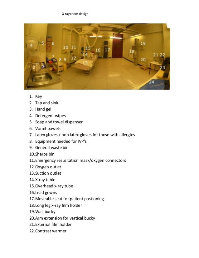 X ray room design1. Key2. Tap and sink3. Hand gel4. Detergent wipes5. Soap and towel dispenser6. Vomit bowels7. Latex glov...