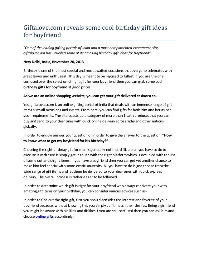 "Giftalove.com reveals some cool birthday gift ideas for boyfriend ""One of the leading gifting portals of India and a most ..."