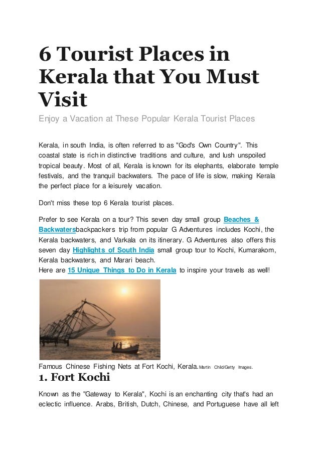 top 6 tourist places in kerala